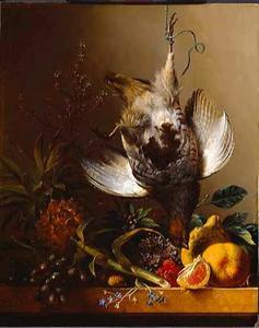 Dode patrijs en vruchten