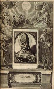 Omlijsting van portretten voor C. Hazart, Triomph der Pausen van Roomen, Antwerpen 1678