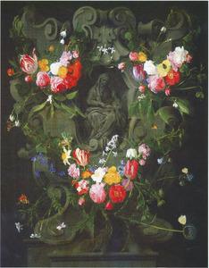 Gebeeldhouwde cartouche versierd met bloemen rondom een voorstelling van de heilige Maagd Maria en Anna