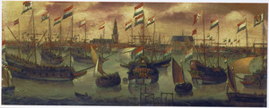 De Hollandse vloot op het IJ voor Amsterdam