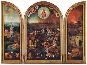 Het hemelse paradijs (binnenzijde links), Het laatste oordeel (midden), De hel (binnenzijde rechts); De doornenkroning (buitenzijden, in grisaille)