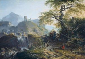 Berglandschap met voerlieden, die een ossewagen over een houten brug drijven