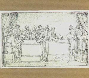 Twaalf kooplieden rond twee tafels (reliëf op het Romeinse Igeler grafmonument in Trier)