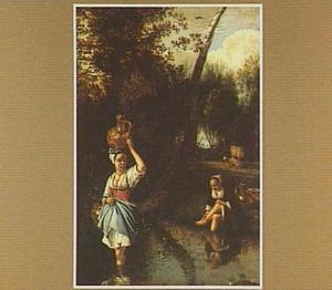 Boslandschap met twee vrouwen in een beek