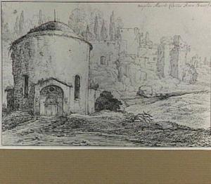 Rome, San Teodoro oftewel de tempel van Marcus Curtius Donatus, op de achtergrond de Palatijn