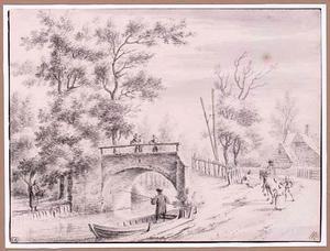 Landschap met hengelaars en toekijkende figuren op een stenen brug