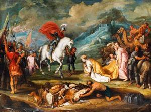 De ontmoeting van David en Abigaïl (1 Samuel 25:23)