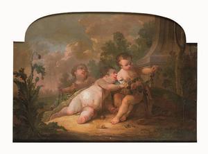 Drie putti met een bloemslinger in een landschap