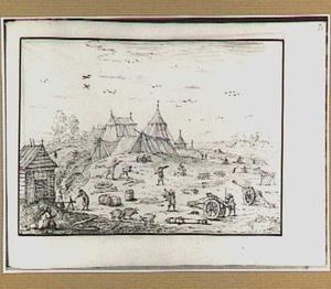Legerkamp, op de achtergrond een fortificatie