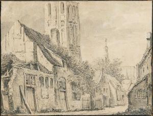 Harderwijk, gezicht vanuit de Muntsteeg naar de Grote Kerk
