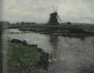 Oostzijdse mill with woman at dock of Landzicht farm