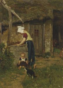 Een meisje en een kind op een boerenerf bij een put