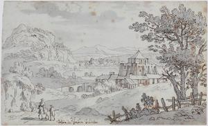 Bergachtig landschap met versterkt kasteel