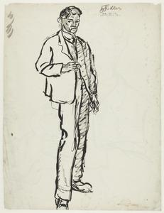 Zelfportret Fiedler met sigaret, staand