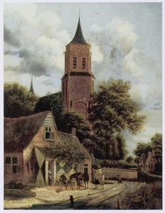Landschap met halthoudende ruiters bij een herberg naast een kerk