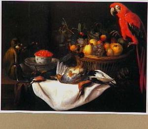 Stilleven met een papegaai, een aapje, vruchten en dood