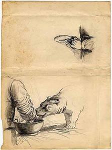 Schetsblad met 2 schetsen van dierenverzorger en nijlpaard