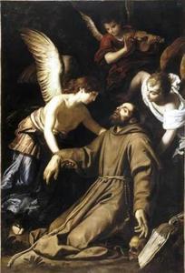 Engelen ondersteunen de bezwijmende H. Franciscus van Assisi