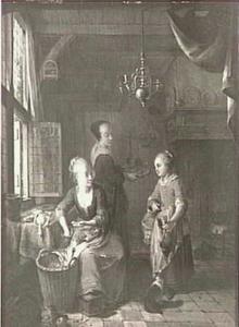 Keukeninterieur, een meisje levert gevogelte af