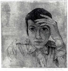 Zelfportret met hand op voorhoofd