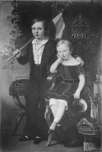 Dubbelportret van prins Willem van Oranje- Nassau (1840-1879) en prins Maurits van Oranje- Nassau (1843-1850)