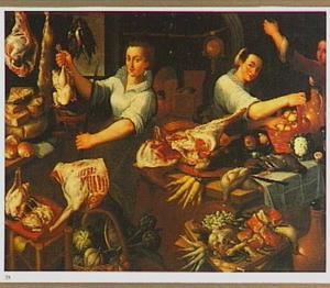 Marktstal met vleesverkoopster en klanten