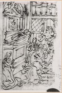 De wonderbaarlijke genezing van Adalassia bij de graftombe van de H. Giovanni Gualberto