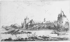 Stadsmuur te Haarlem met links Amsterdamse Poort of Spaarnwouderpoort