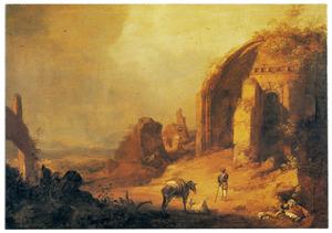 Zuidelijk landschap met de ruïne van de tempel van Minerva Medica