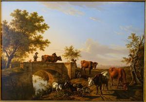 Herder met vee  op de Gottesauer Brücke, Karlsruhe in de verte