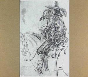 Geharnaste ruiter te paard en vrouwenfiguur