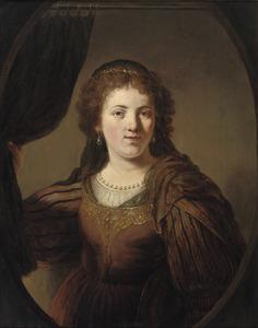 Portret van een vrouw in historisch kostuum