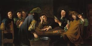 Drinkende en rokende kaartspelers rond een tafel
