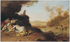 Arcadisch landschap met slapende nimfen
