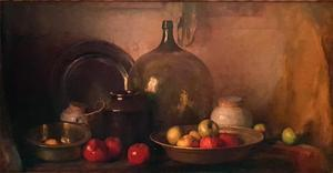 Still life with glass bottle, metal and ceramic vessels and fruit
