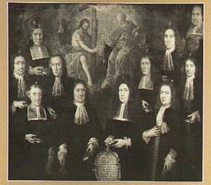 Groepsportret van de elf dekens van het Mechelse Kleermakersgilde in 1695