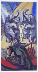 Clown en dompteur met zijn olifanten in circustheater Carré, Amsterdam