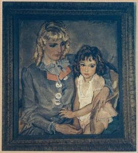 Portret van Mary Hoogland (1903-1945), met haar dochtertje Suzanne