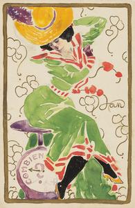 Dame met groene jurk en gele hoed