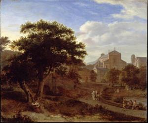 Tuin in de stad met twee kerken op de achtergrond