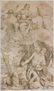 Maria met kind verschijnt aan de boetende Hieronymus in de woestijn