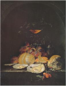 Vruchten en oesters in een nis