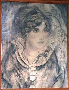 Portret van Greet van Cooten (1885-1967), gekleed in jurk met opstaande kraag