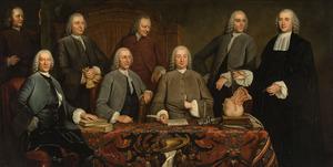 Groepsportret van de overlieden van het Chirurgijnsgilde te Amsterdam, 1758