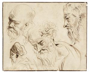 Vijf koppen van oude mannen