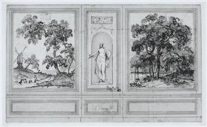 Twee behangselvlakken met een landschap ter weerszijden van een grisaille