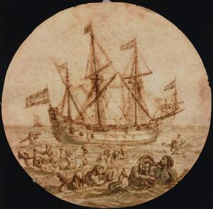 Driemaster op zee met tritons en nereïden