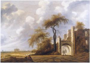 Landschap met ruïne, geïnspireerd op kasteel Brederode vanuit het zuidoosten