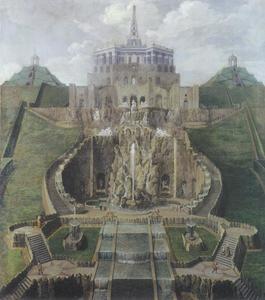 Zicht op op de residentie van Landgraf Karl van Kassel, van de grote waterbekken tot het octagon