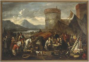 Legerkamp aan de kust, met kaartende soldaten